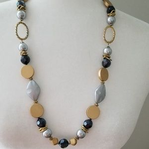 Jewelry - Black, Silver and Gold Necklace and Earring Set